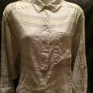 Free people long sleeve button down shirt plaid s